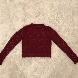 Red See Through Long Sleeve Crop